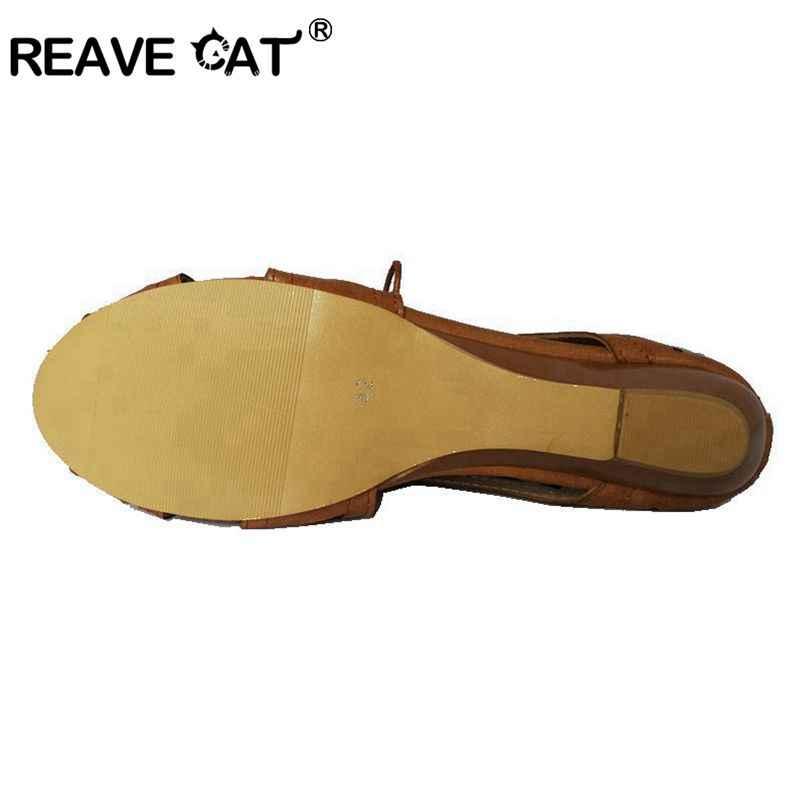 REAVE kedi büyük boy 34-43 Cut out gladyatör Hollow Lace Up fermuar kadın sandalet açık Toe düşük takozlar bohemian plaj ayakkabısı