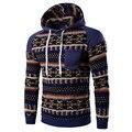 Winter Jacket 2016 New Fashion Coats National Wind Mosaic Sleeves Digital Diamond Print Design Men Casual Hooded Sweatshirts