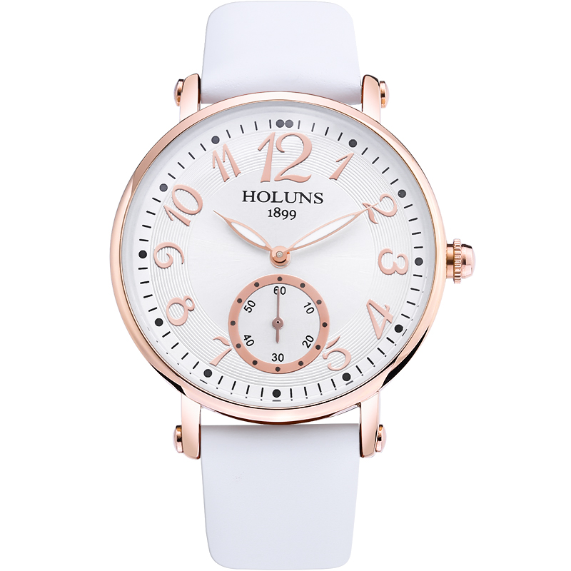 HOLUNS Watch women Sapphire glass White Dial Quartz waterproof multicolor leather strap watch