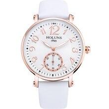 HOLUNS Reloj mujeres reloj correa de cuero cristal de Zafiro Esfera Blanca de Cuarzo impermeable multicolor