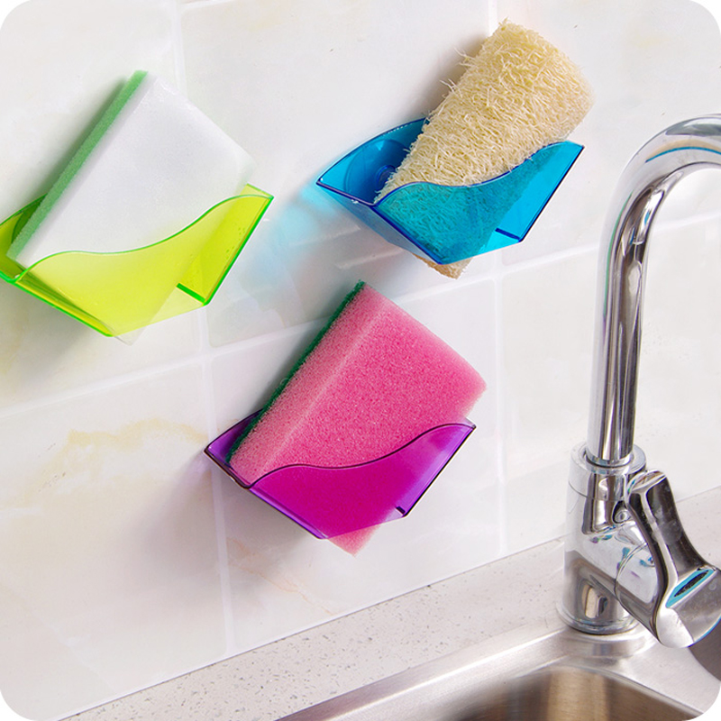 Sink Sponge Holder Useful Double Strong Suction Cup Soap Utensils Drying Storage Rack Shelf Kitchen Accessories Organizer