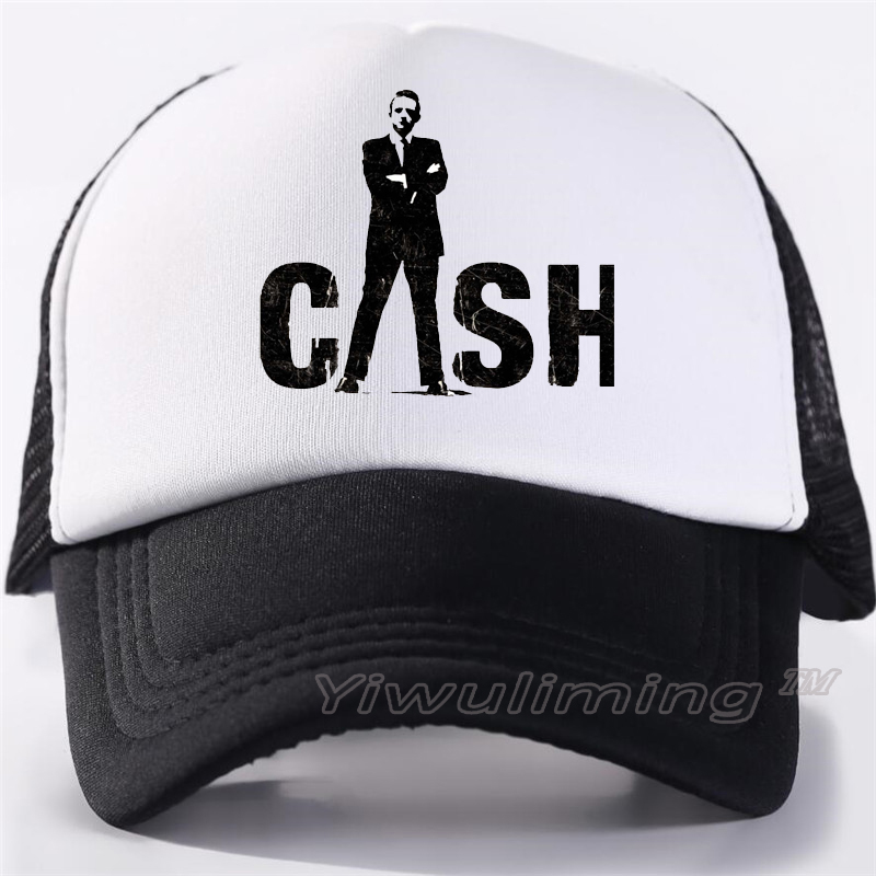 New Summer Trucker Caps Johnny Cash Cool Summer Black Adult Cool Baseball Mesh Net Trucker Caps Hat For Men Adjustable