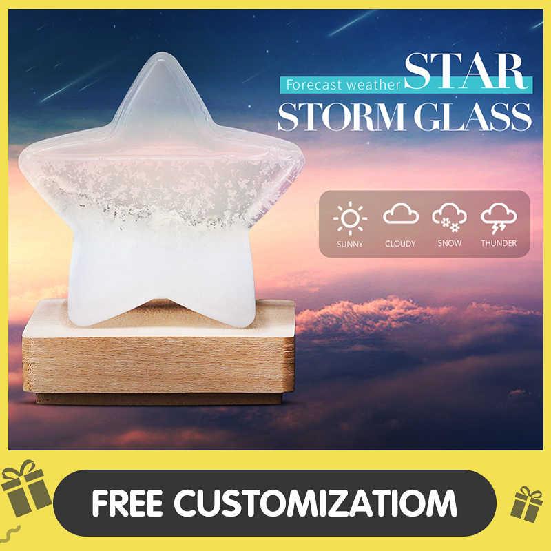 Previsão do tempo tempestade de vidro cristal tempo gota livre gravura em forma de estrela ornamentos decoração para casa TQYBP-HX