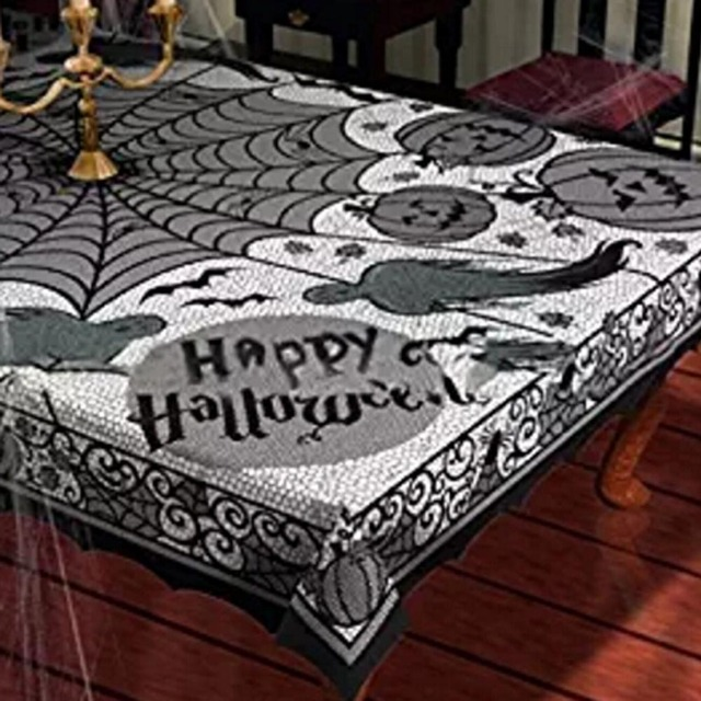 Beautiful 156*216cm Table Cloth Black Pumpkin Spiderweb Tablecloth Fabric Party  Halloween Decoration Lace Rectangular