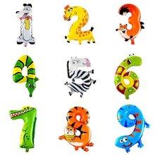0-9 с цифрами Алюминий пленки воздушный шар 16-дюймовый мультфильм животных с числа из фольги, воздушный шар на день рождения декоративный шар