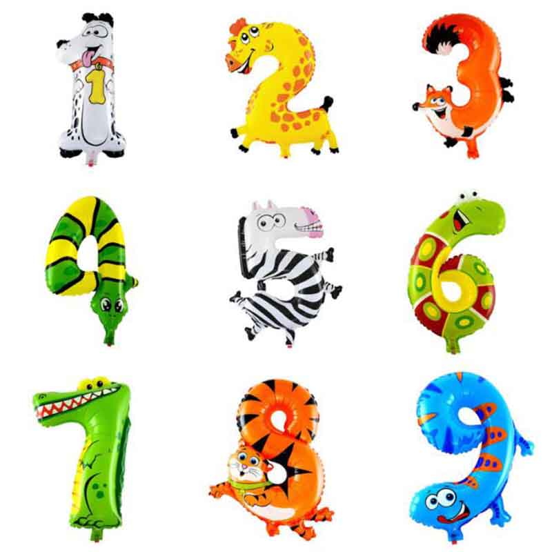 0-9 With Numbers Aluminum Film Balloon 16-Inch Cartoon Animal With Numbers Foil Balloon Birthday Decorative Balloon