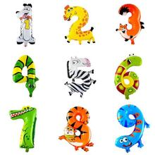 30-50cm 16 Inches Animal Cartoon Number Foil Balloons Party Hat Digit Air Ballons Birthday Party for Kids Toys(China)