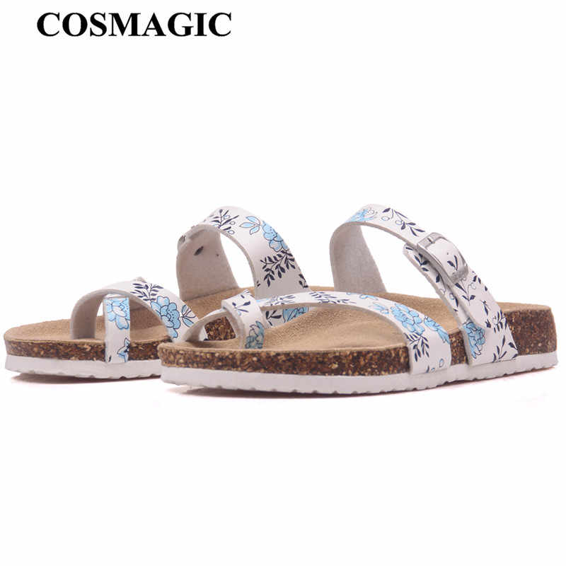 COSMAGIC 2018 New Summer Beach Cork Slipper Flip Flops Shoes Women Mixed Color Casual Slides Shoes Flat with Plus Size