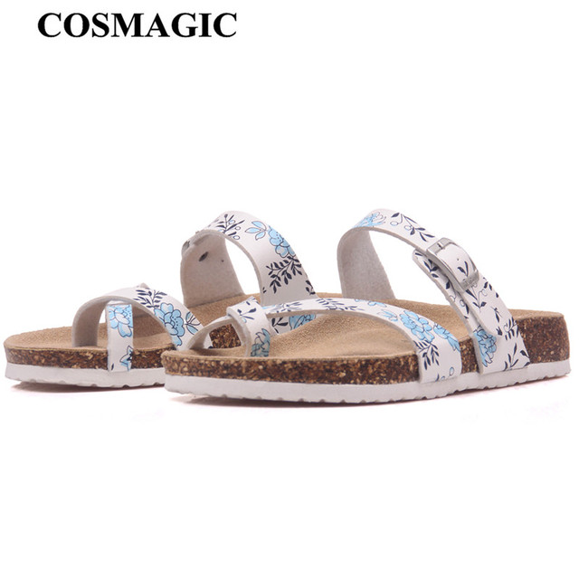 b6163e0f365e1 COSMAGIC 2018 New Summer Beach Cork Slipper Flip Flops Shoes Women Mixed  Color Casual Slides Shoes Flat with Plus Size