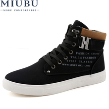 MIUBU Brand Mens Casual Shoes High-Top Autumn Winter Lace-up Men Ankle Boots