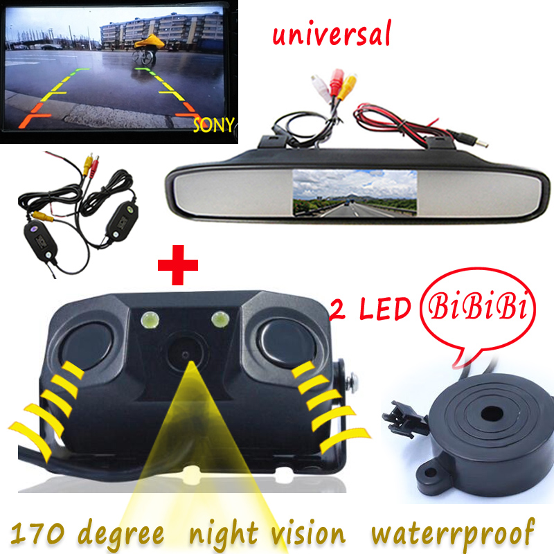wireless Parking Assistance Sensor Backup Radar With Rear View Camera + 4.3 inch LCD Car Rearview Mirror Monitor Video Parking