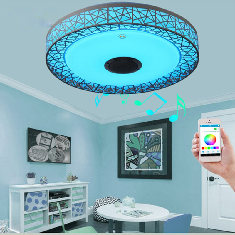 42 Modern Bluetooth Ceiling Fan Light Remote Music: Modern Ceiling Lights RGB Dimmable 36W 40W APP Remote