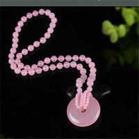 Pink Jade Furong Jade Powder Crystal Safety Buckle Necklace Sweater Chain