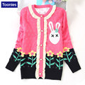 Autumn Children's Sweaters for Girls Cartoon Jacquard Baby Girl sweater Single Breasted Knitwear Long Sleeve Toddler Pull Fille