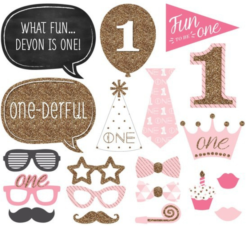 1st Birthday Photo Booth Props Party Decorations First Birthday Baby Girl Decor 1 One Year Old Decor Supplies Pt38 Party Diy Decorations Aliexpress
