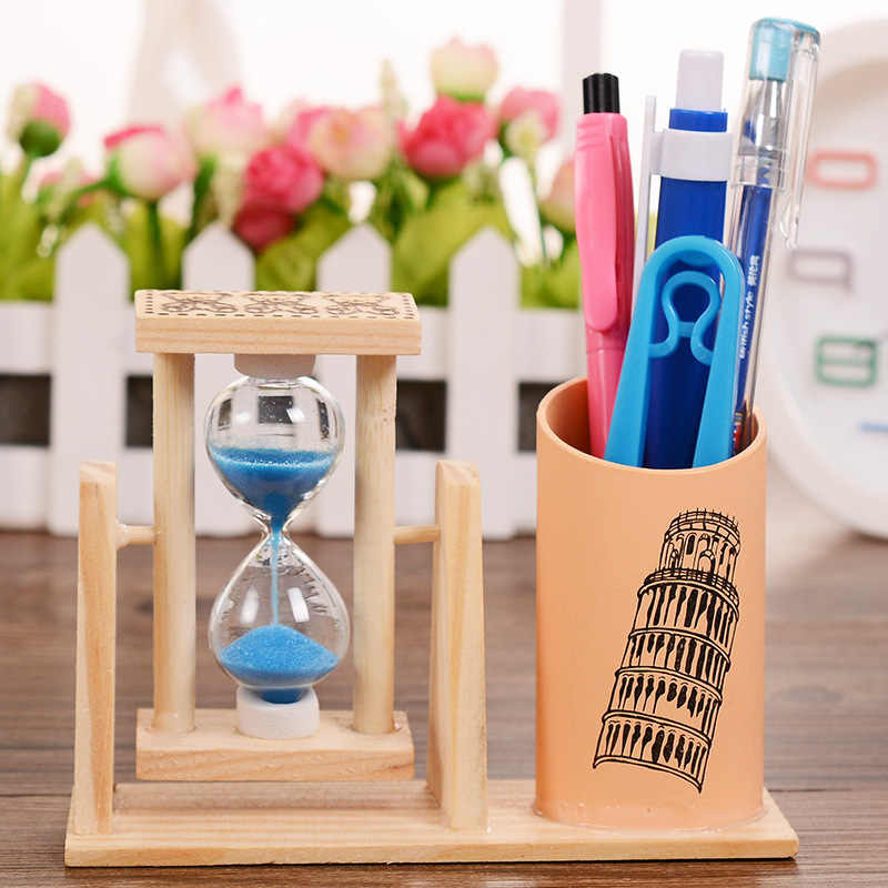 Деревянный картридж для ручки песочные часы Креативный ручной работы школьные сувениры настольные украшения Праздничные подарки песочные часы