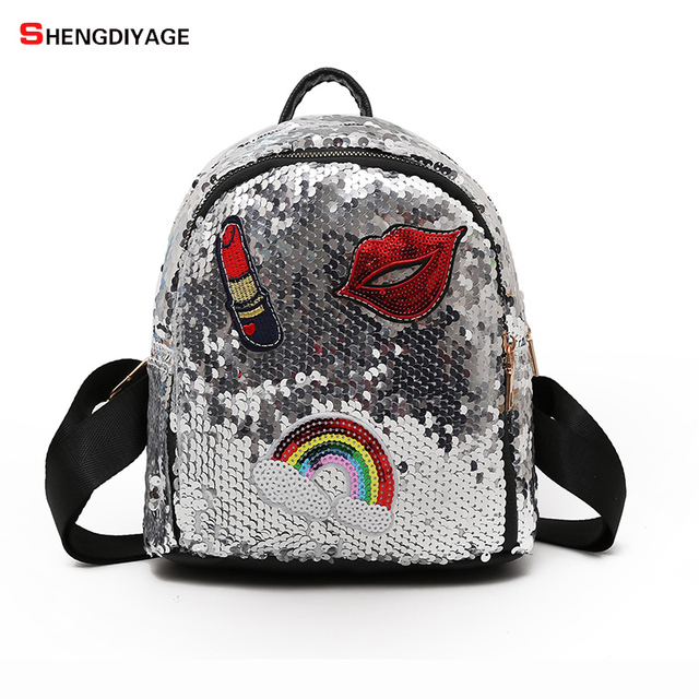 fde50022daa9 2018 Sequins Lipstick Embroidery Mini Backpacks High Quality Schoolbags for  Teenage Girls Fashion Women Small Backpack