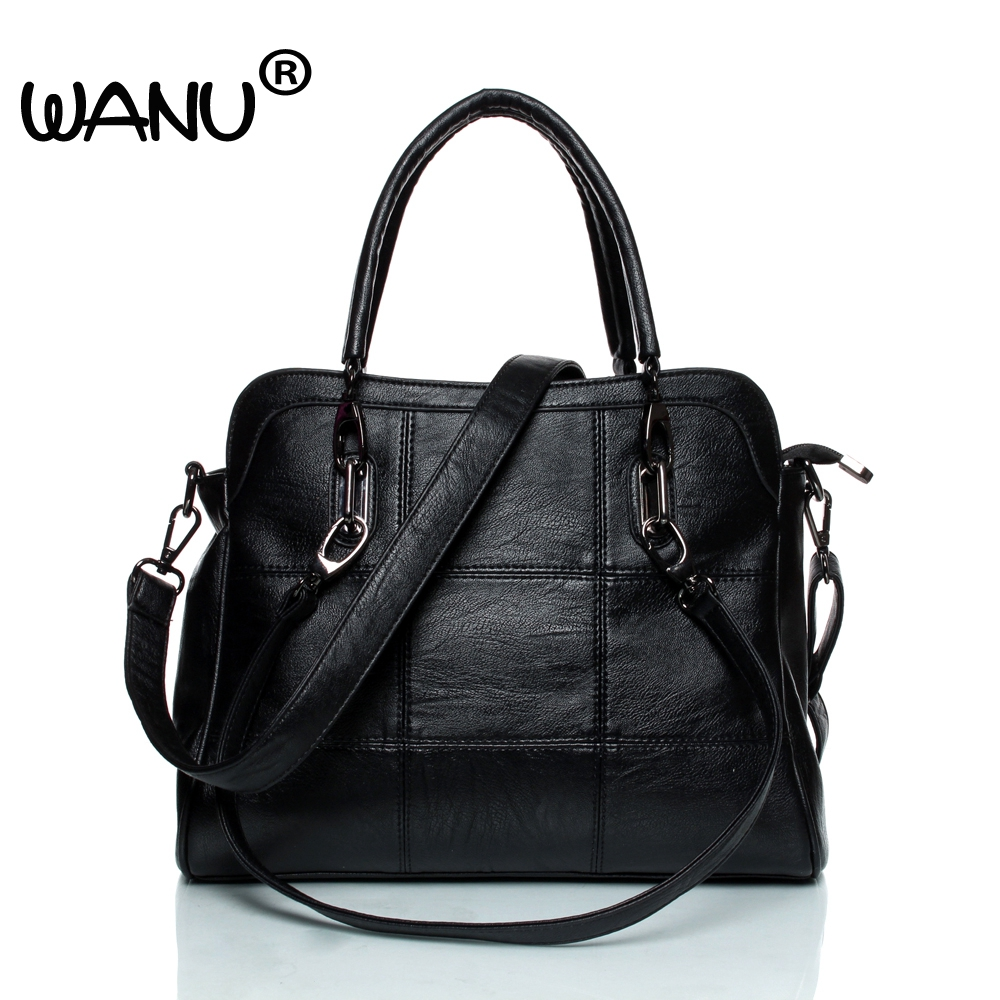 купить WANU Leather luxury Handbags women bags Sheepskin Female Shoulder Bag Black Totes Top-handle Bag For Wife Ladies Mother gift по цене 1636.7 рублей