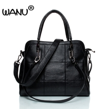 WANU Leather luxury Handbags women bags Sheepskin  Female Shoulder Bag Black Totes Top-handle Bag For Wife Ladies Mother gift
