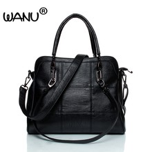 WANU Leather luxury Handbags women bags Sheepskin Female Shoulder Bag Black Totes Top-handle Bag For Wife Ladies Mother gift(China)