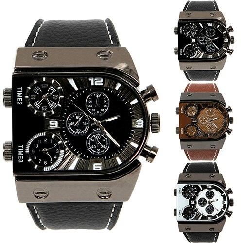 840d73bd163 2016 Moda Três Fusos horários dos homens Faux Leather Strap Analógico  Quartz Relógio de Pulso