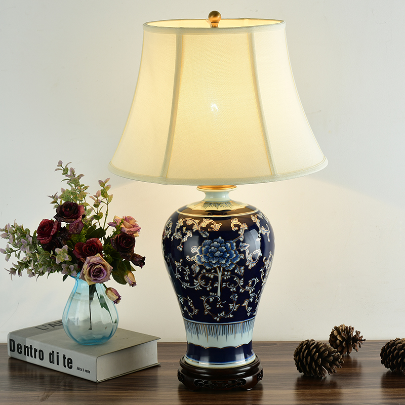 Bedroom Vintage Table Lamp China Living Room For Wedding Decoration Ceramic Lighthouse Blue And White