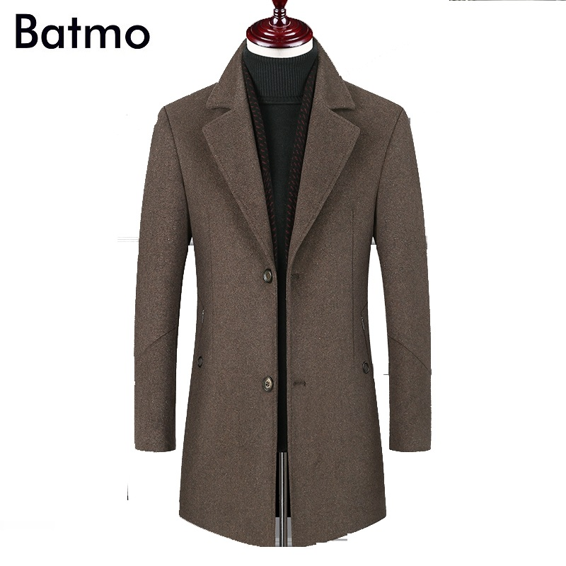BATMO 2019 New Arrival Winter High Quality Wool Thicked Trench Coat Men,men's Camel Wool Jackets ,plus-size M-6XL,1828