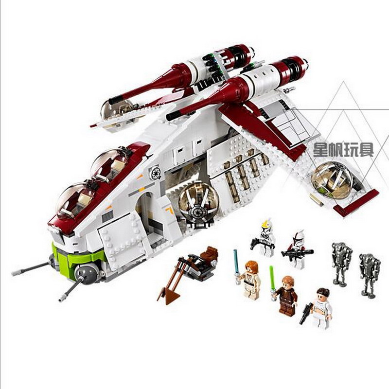 LEPIN 05041 Star Wars The Republic Gunship Figure Blocks Educational Building Toys For Children Compatible Legoe Bricks lepin 06037 compatible lepin ninjagoes minifigures the lighthouse siege 70594 building bricks ninja figure toys for children