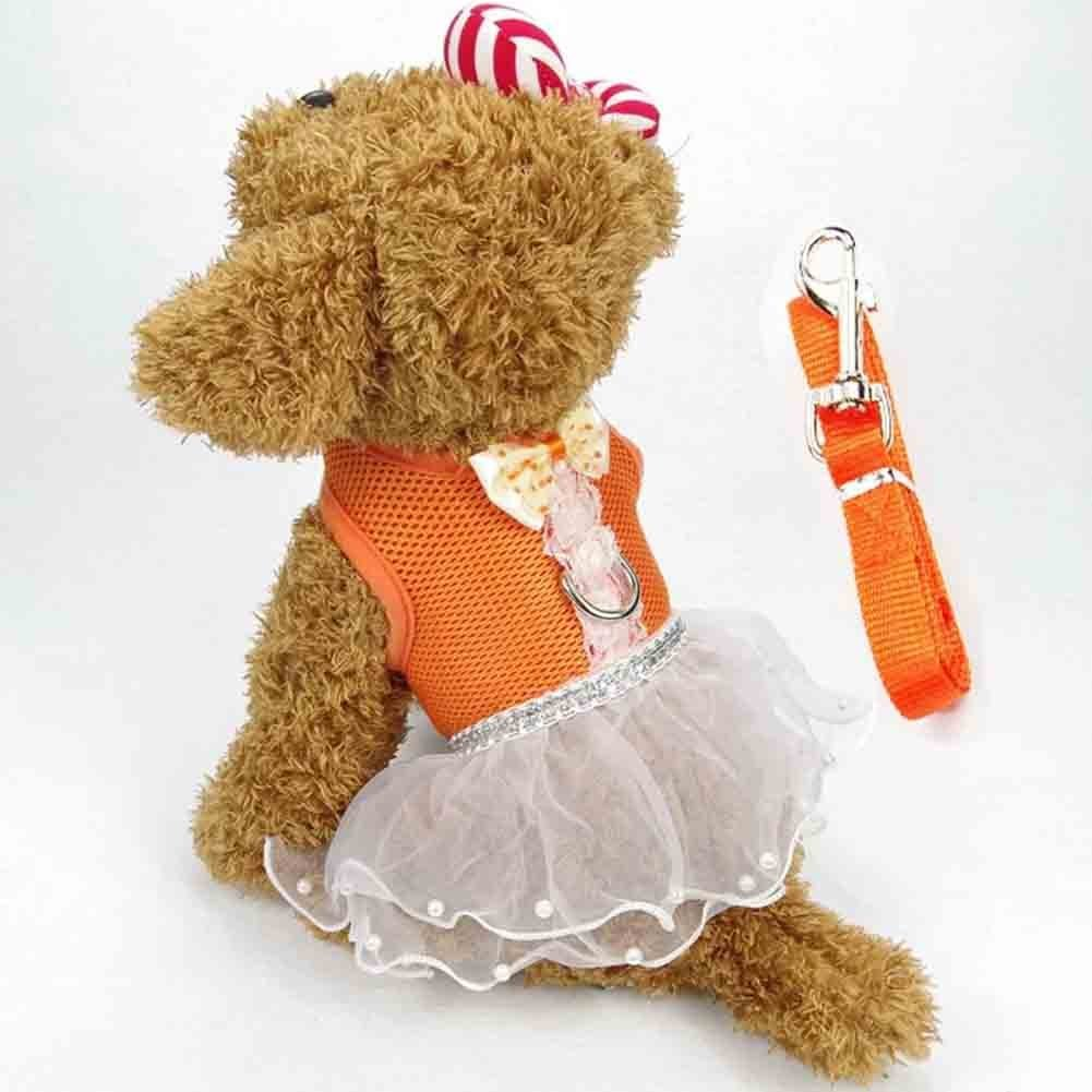 Cute Small <font><b>Dog</b></font> <font><b>Dress</b></font> <font><b>Harness</b></font> Leash Pet Lace Tutu Skirt Mesh Vest <font><b>Harness</b></font> image