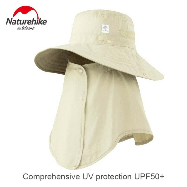 829425db30f5c Naturehike Outdoor Fishing Fisherman Hat Cap Wide Brim Sun Anti-UV Men  Women Quick-Dry with Neck protection Cover NH17M111-Z