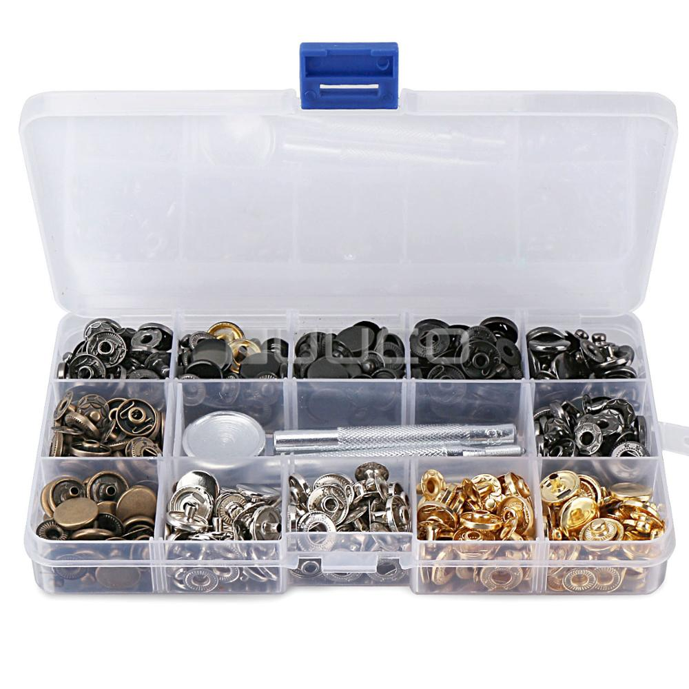 Metal buckle/6 Colors press stud Fastener Kit/Metal snap Button with Install Tool for leather/bags/suitcase and DIY etc manual metal bending machine press brake for making metal model diy s n 20012
