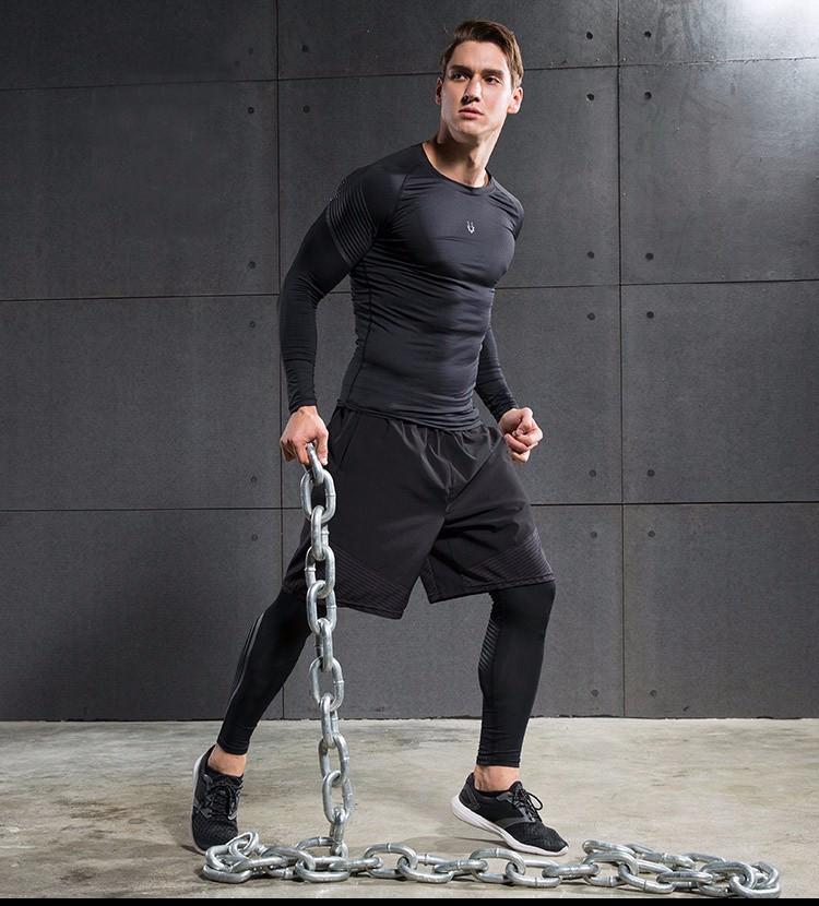 3 Sztuka Zestaw męska sport przebiegu stretch rajstopy legginsy + t shirt + spodenki spodnie treningowe jogging fitness gym kompresji garnitury 28