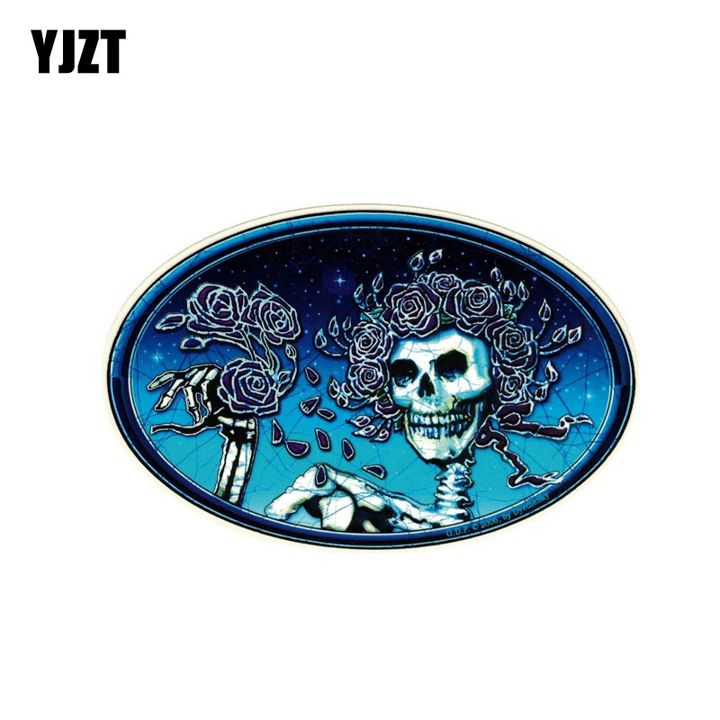 YJZT 14.6CM*9.2CM Grateful Dead Skull And Roses Car Sticker Personality Decal PVC  6-0158