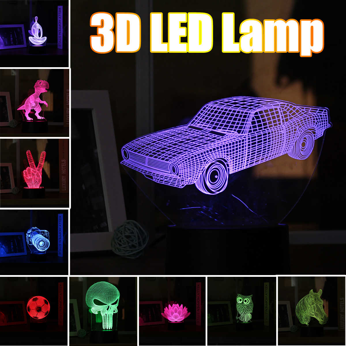 Animal 3D Night Light Touchs Switch LED Acrylic Panel Lamp Desk Atmosphere Lamp Novelty Lighting for Christmas Home Bedroom Kids