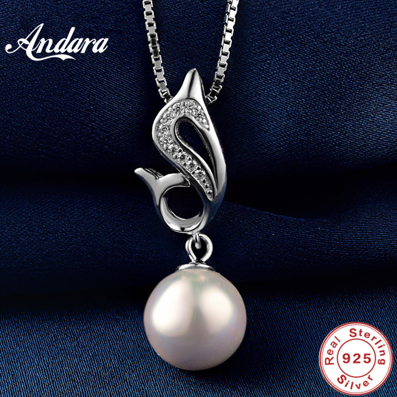 <font><b>ANDARA</b></font> Elegant 925 Sterling Silver Pearl Pendant Necklace for Women Good Quality Fine Jewelry Wedding Accessories image
