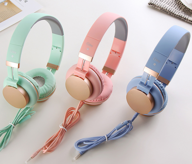Luxury Headband Wired Big Headphones with Mic Portable Foldable On-Ear Headset with Microphone for Phones xiaomi PC Girls Kids kanen wired stereo lightweight foldable headphones adjustable headband headsets with microphone for smartphones iphone