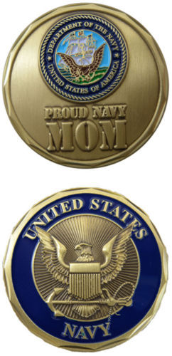 low price Custom coin hot sales U S Navy Proud Navy MOM Challenge Coin High quality custom made metal coins FH810190 in Non currency Coins from Home Garden