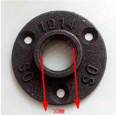 (For DN25-1''Pipe Hole ID:30MM )Base Diameter:8.5CM Cast iron Industrial pipes flange wall base pipe support base-4 hole lab rectangular retort support stand base 160x 100mm cast iron with hole tapped m10x1 5mm and rubber feet in the short side