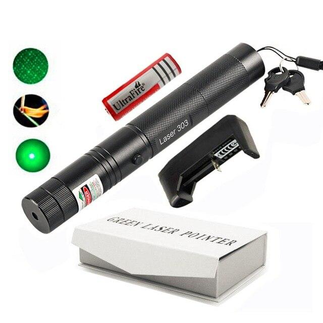 303 מצביע לייזר ירוק גבוהה כוח 5 mw 532NW Focusable שריפת נקודה אחת המכוכבים לייזר עט סט עם קופסא לבנה