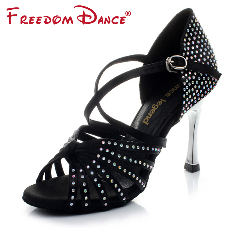 Golden High Heel Satin Rhinestones Women's Latin Dance Shoes Ballroom Shoe Sandals 8.5cm Heel Girls Dancing Shoes Salsa