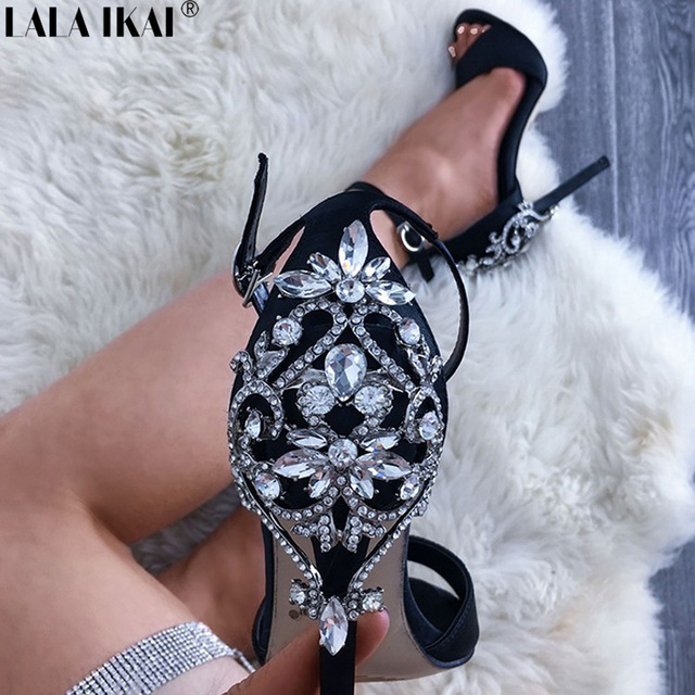 e05e6be041f8 LALA IKAI Women High Heels Sandals Spring Pump Crystal Glitter Sandals Chic  Cover Heel Party Sexy Ladies Shoes XWC1195-5