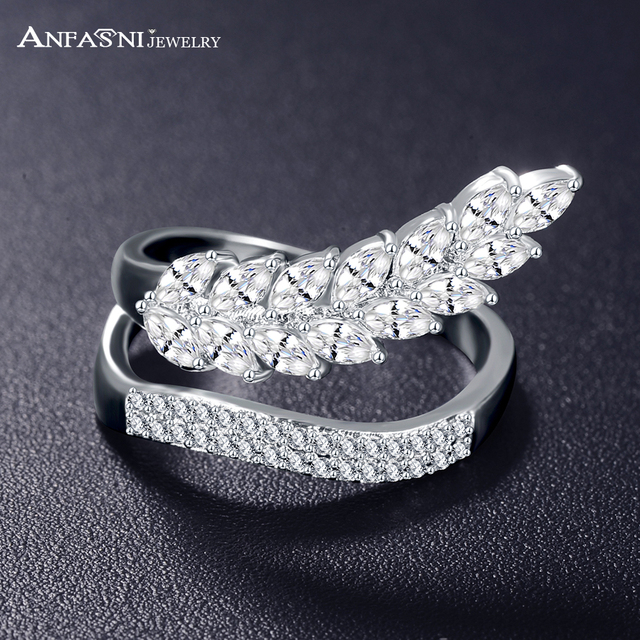 ANFASNI Fashion Wedding Engagement Rings For Women Leaf Shape with AAA Cubic Zircon Surround Jewelry Bijoux Gift Dropshiping
