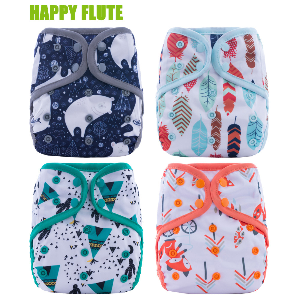 Happy Flute Diaper Cover With Or Without Insert Double Gussets Cloth Diaper Reusable Breathable Baby Diapers Fit 3-15kg Baby