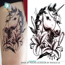 MC697 19X12cm HD Large Tattoo Sticker Body Art War Horse Temporary Tattoo Terrorist Stickers Flash Taty Tatoo