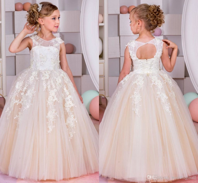 Lovely Champagne tulle Sleeveless Ball Gown   Flower     Girl     Dresses   2019 O-Neck Princess   Flower     Girl     Dress   vestidos de comunion 2019