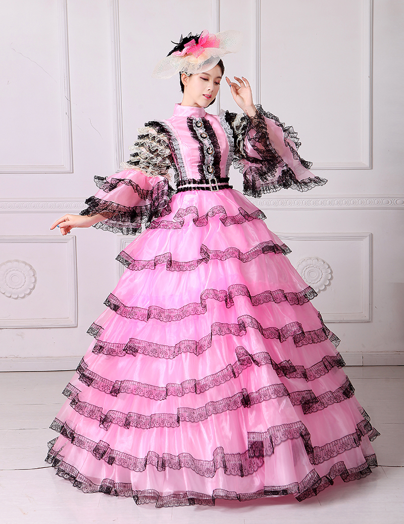 Pink And Black Lace Vampire Masquerade Ball Dress Civil War Southern ...