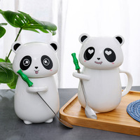 Cartoon Ceramic Panda Cup with Cover Spoon Creative Coffee Cups and Mugs Wine Tumbler Tea Mug Water Bottle Cute Panda Milk Cups