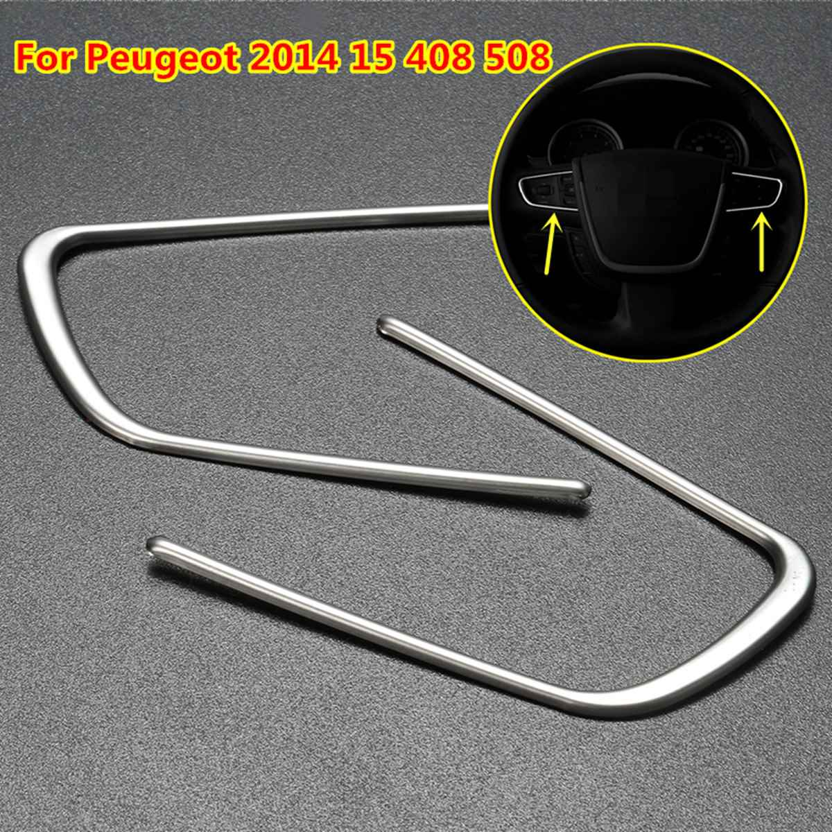 1 Pair Car Steering Wheel Cover Mouldings Trim Strip Styling Sticker For Peugeot 2014 15 408 508