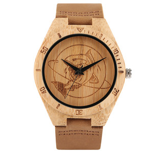 Bamboo Wood Watch Men Simple Modern Shark Dial Creative Watches Casual Sport Nature Wooden Quartz Clock Genuine Leather Band