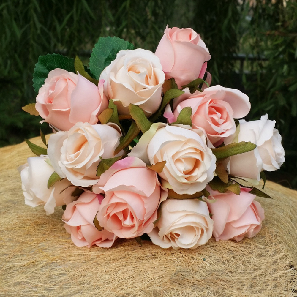 12pcs Silk Artificial Rose Bridal Wedding Bouquets Rose Bride Bridesmaid Flowers Home Party Decor Wedding Decoration